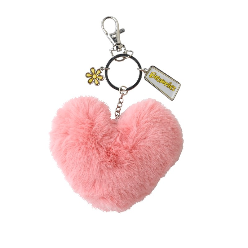 Brownies heart pom Pom keyring